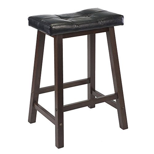Winsome Mona 24-Inch Cushion Saddle Seat Stool, Black Faux Leather, Wood Legs, (Red Saddle Seat Bar Stool)