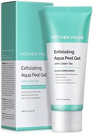 MOTHER MADE Exfoliating Natural Aqua Facial Peel Gel with Green Tea, Vitamin C, Willow Bark Extract, 3.38 fl. oz, Gentle Peeling Exfoliator for Sensitive Oily Dry Skin, Vegan, Oil-free, Paraben-free