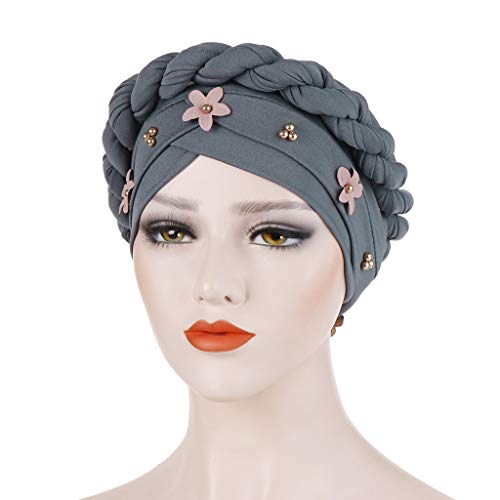 (hositor Hats for Women, Fashion Ladies Braid India Hat Muslim Ruffle Cancer Chemo Beanie Turban Wrap Cap)