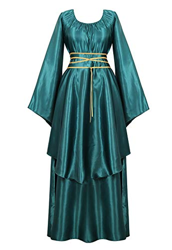 Womens Deluxe Medieval Victorian Costume Renaissance Long Dress Costumes Irish Over Cosplay Retro Gown Green-L