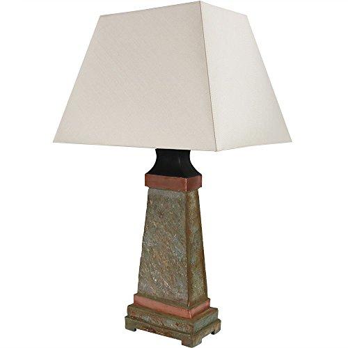 - Sunnydaze Indoor/Outdoor Weather Resistant Table Lamp, Copper Trimmed Slate