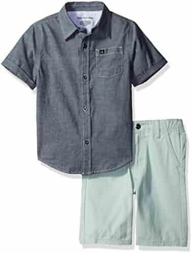 ce405345d8c5 Calvin Klein Baby Boys  2 Pieces Shirt Short Set-Chambray
