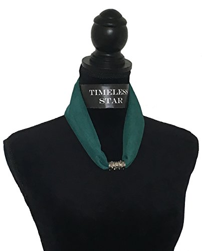 Chiffon Necklace Sash Scarf with Engraved Magnetic Clasp Classic Style for Women (Jungle) ()