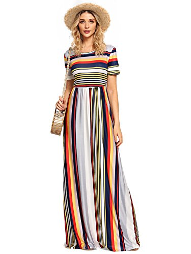 Pocket Two Waist Elastic (Milumia Women's Casual Long Sleeve Elastic Waist Striped Maxi Dress with Pockets X-Large Multicolor-2)