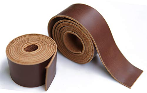 Jeereal Full Grain Leather Strap 2.0mm Thick Cord Braiding String (1.5inch Wide,50~52inches Long) for Crafts/Tooling/Workshop Handmade(Bourbon Brown)