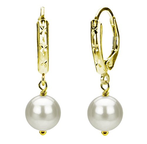 (Cultured Freshwater White Pearl Earrings 14K Yellow Gold Leverback Jewelry for Women 6-6.5mm)