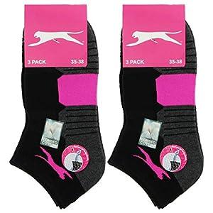 Slazenger 6 paires de chaussettes de sport Sneakers femme, fabrication Piquet, excellente qualité de coton peigné