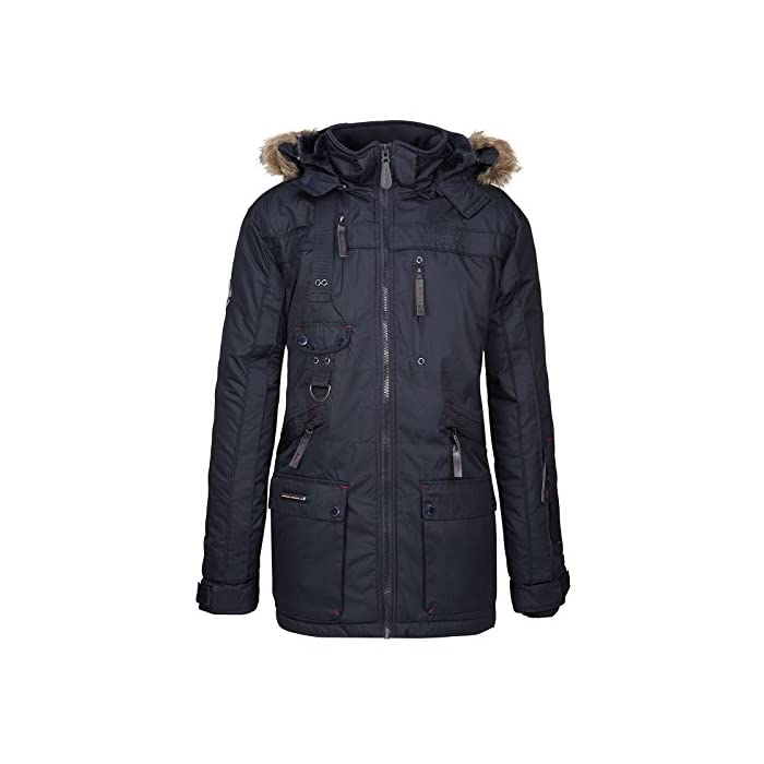 41bZ7a1s%2B6L Gran comodidad, capucha y piel sintética extraíble. Transpirable, forro muy cálido. 100% Poliéster