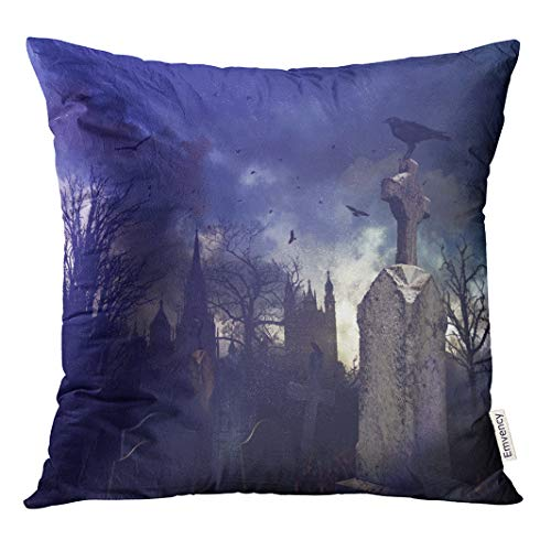 Semtomn Decorative Throw Pillow Cover Square 20x20 Inches Pillowcase Tree Halloween Night Scene in Spooky Graveyard Cemetery Scary Pillow Case Home Decor for Bedroom Couch Sofa ()