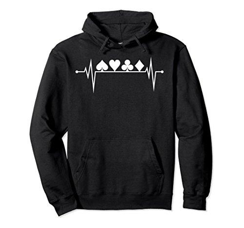 Unisex Poker Heartbeat Card Suit Shirt Hoodie Card Player Gift 2XL Black