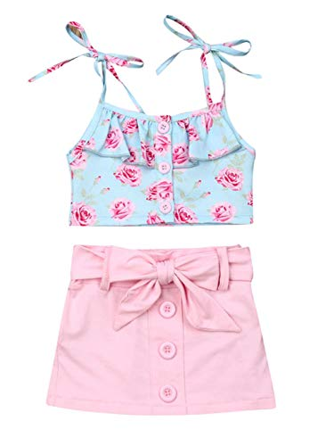 VISGOGO Toddler Baby Girls Outfits Clothes Set Halter Crop Tops + Flamingo Short Pants (4T, K)