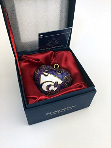 Holiday State Ornament Kansas Wildcats - Cloisonne Heirlooms - Exquisite Handmade Pieces - Kansas State University Wildcats Mom Heart Oven Fired Copper Handmade Hand Painted Christmas Holiday Tree Ornament