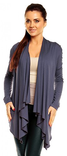 3XL Grey Women's Blue 320z Zeta Top Jacket Waterfall M Ville Cape Draped Cardigan Blazer OwnvpqA