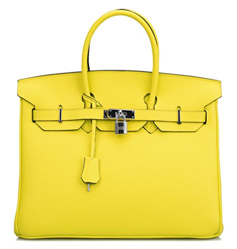 Ainifeel Womens Padlock Handbags Purses With Silver Hardware  35Cm  Lemon Yellow