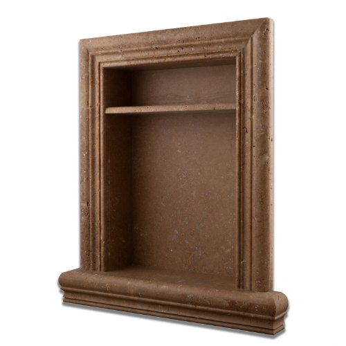 Tile Wall Noce - Noce Travertine Hand-Made Honed Shampoo Niche / Shelf With Divider- LARGE
