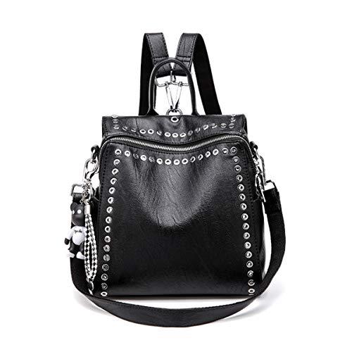 (Fashion Backpack, JOSEKO Casual Rucksack with Rivet Leather Daypack Shoulder Bag for Women Black Black 10.6