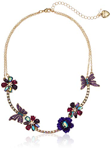 Betsey Johnson Womens Multi Stone Butterfly and Flower Frontal Necklace