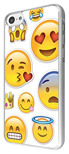 2060 - Cool Emoji Collage Love Eyes Scared Blowing Kisses Grinning Design iphone 4 4S Hülle Fashion Trend Case Back Cover Metall und Kunststoff -Clear