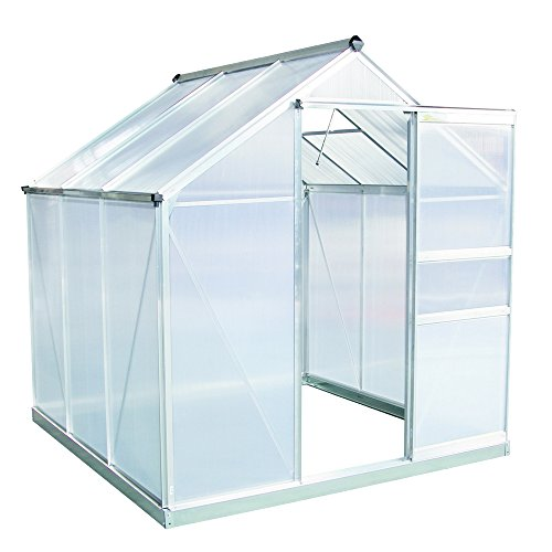 Palm Springs 6ft x 6ft Aluminum Walk in Greenhouse with polycarbonate - Glazing Greenhouse Polycarbonate