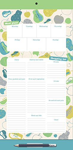 Organized Mom. Menu Planner. Grocery Shopping List. Magnetic Fridge List. Magnetic notepad with grocery shopping lists and weekly menu planner with a clip-on pencil and pocket for receipts & coupons.