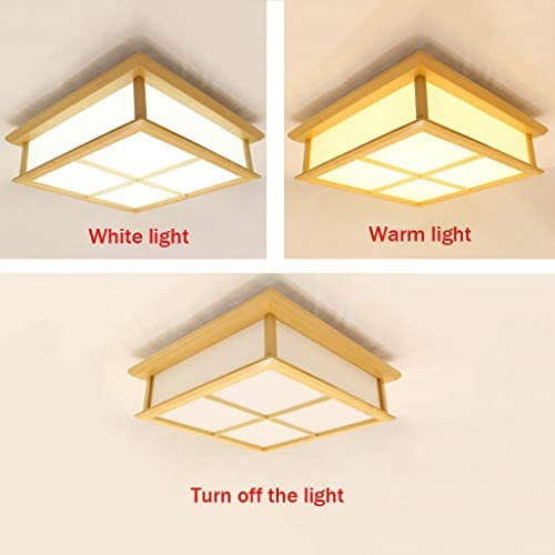 William 337 Japanese Style Ultra-Thin LED Square Wooden Ceiling Lamp Wooden Ceiling Lamp Living Room Bedroom Ceiling Lamp [Energy Rating A++] (Color : Tricolor Light)