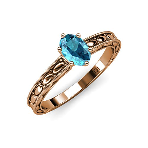TriJewels Oval Cut London Blue Topaz Design Womenss Solitaire Engagement Ring 14K Rose Gold.size - Milgrain Setting