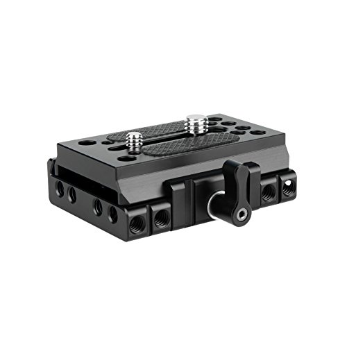 NICEYRIG Quick Release Base with Plate Applicable Camera DSLR 15mm Rail Support System, Compatible with Manfrotto 577, 501, 504, 701 (Base Plate Quick Release)