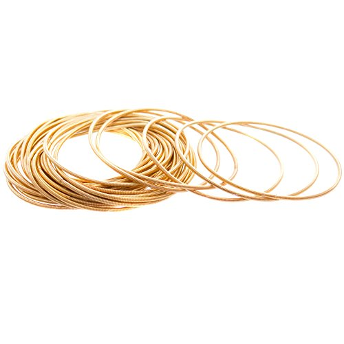 (FROG SAC 24 PCS Gold Guitar String Bracelet Set, Womans Coil Bracelets, Stackable Jewelry Bracelets in Velvet Pouch for Women, Plated Spiral Fashion Bangles)