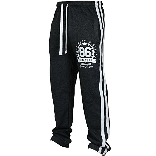 Birdfly Fall Winter 86 New York Side Striped Sport Sweatpants Casual Trouser for Men (XL, Black) by Birdfly