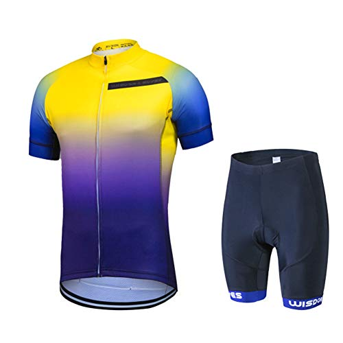 Men's Cycling Jersey Set MTB Bike Clothing Mountain Road Bicycle Shirts Shorts with 3D Padded Outdoor Riding Sportswear Yellow