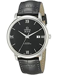 Omega Mens 42413402001001 Stainlesss Steel Watch with Black Leather Band