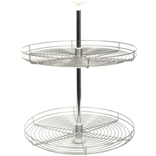 Kv Lazy Susan Full Round 2 Wire Shelves 24'' (Set) Frosted Nickel