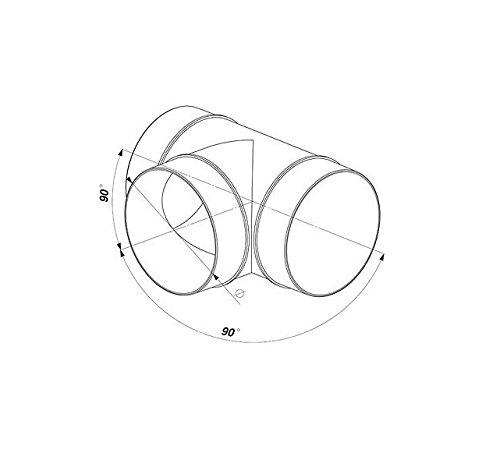 dise/ño en /«T/», con extractor de 125 mm y conexi/ón de 3 canales, KO125-26 Conductos de tuber/ía redondos
