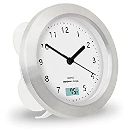 Trendworx 4044-2 Suction Cup Bathroom Clock with Digital Thermometer