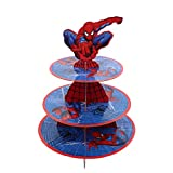 3 Tier Spider-man Cupcake Stand Cake Dessert Display Tower Spiderman Theme Party Supplies (Spiderman)