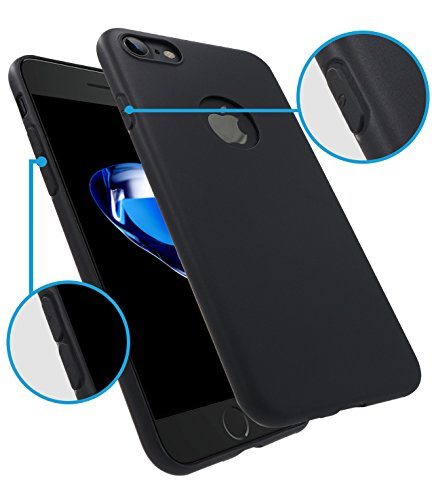 iPhone 7 Case, HZ BIGTREE [0.5mm] Ultra Thin [ Perfect Slim Fit ] Thinnest [Light Weight] Soft Touch Flexible Protect Case Back Cover Bumper for Apple iPhone 7 4.7 inch [matte black]