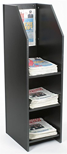Displays2go Wood Newspaper Rack with 3 Shelves and Acrylic Sign Frame, Holds Up to 80 Tabloid-Size Papers, Black (NRTBL3TBLK)