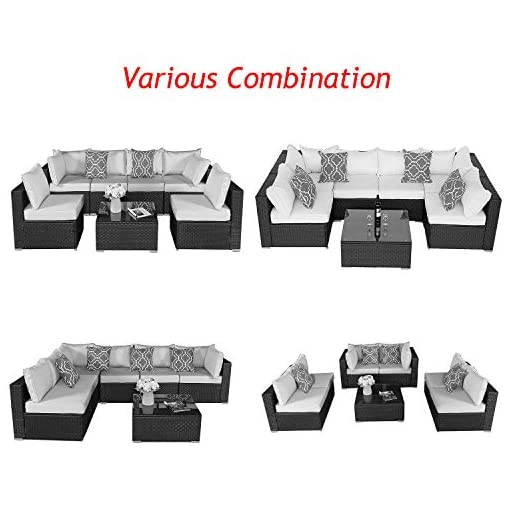 Furnimy 7 Pieces Patio Furniture Sets Outdoor Furniture Sectional Sofa Patio Conversation Set Outdoor Patio Furniture Set Rattan Wicker Expresso with Patio Table Beige