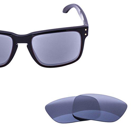 c70c5f467b1 LenzFlip Replacement Lenses for Oakley HOLBROOK - Gray Black Polarized  Lenses with Chrome Mirror