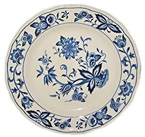 Vintage Harmony House Blue Bonnet Onion Flowers 7 1/4 Inch Earthenware Dessert/Bread Plate, Set of - Onion Plate Bread Blue
