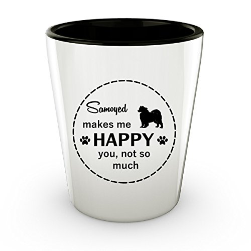 Funny Samoyed Dog - White Shot Glass - 1.5 oz - Ceramic - Perfect Gift For Birthday, Christmass & Special Occasions