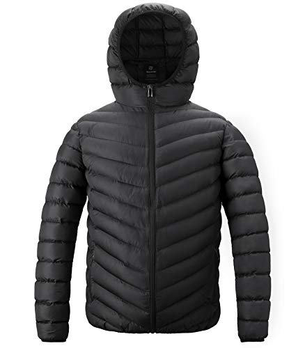 Wantdo Men's Quilted Hoody Jacket Warm Insulated Coat Black X-Large