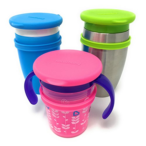 Koaii Baby Custom Replacement Lids Compatible for All Munchkin Miracle 360 Cups. More Color Combination Available. Set of Three in Blue, Pink & Green.