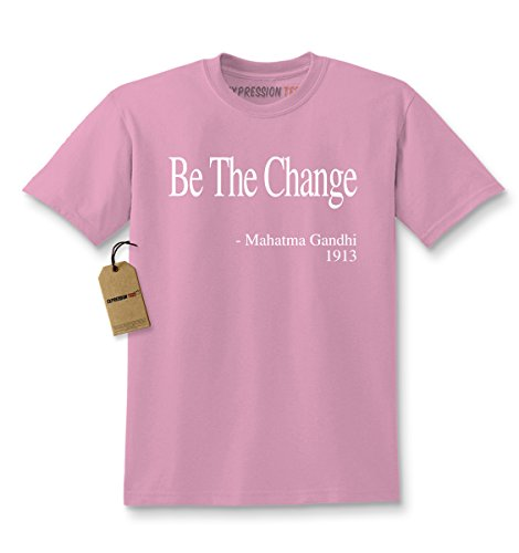 Kids Be The Change Gandhi Quote T-Shirt Medium Light Pink