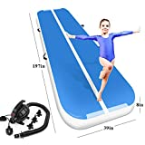 Air Track Tumbling Mat for Gymnastics Inflatable Airtrack Floor Mats with Electric Air Pump for Home Use Cheer Training Tumbling Cheerleading Beach Park Water and Martial Arts (Blue-White, 16.4) -  Playieer