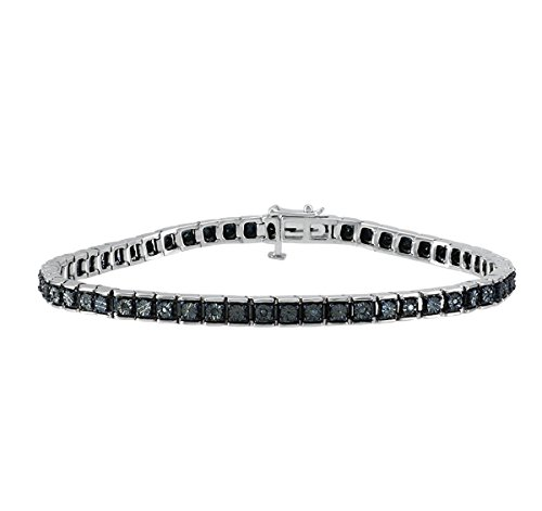 Christmas Gifts Tennis Bracelet : 925 Sterling Silver Real Diamond Line Bracelet For Women (Black) by Store Indya Jewelry