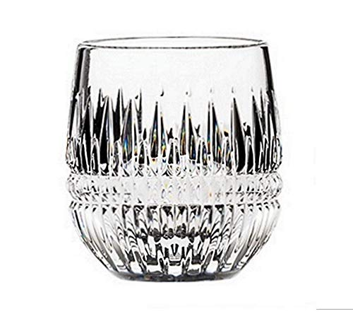 Royal Scot Crystal Hand Cut Glass Whisky Barrel Tumbler Glass 240ml 8oz in Iona Design | Scottish Whisky Glass with Presentation Box