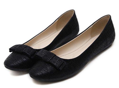Flat DADAWEN Dolly Pumps Women's Black Ballet Shoes Ballerina Work 51Hwfq1