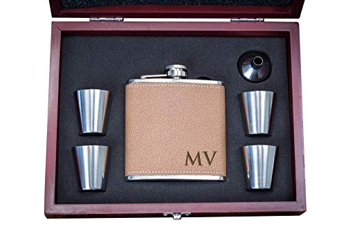 (Personalized Leather Flask Wood Box Set- Custom Engraved Hip Flasks, Groomsmen Gift- Groomsman Whiskey Gifts For Men, Rustic Customized Brown Vegan Leather Wrapped #304 Steel 6 oz)