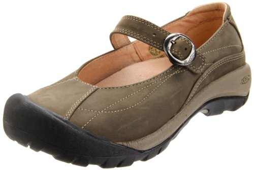 Keen Leather Mary Janes (KEEN Women's Toyah Mary Jane Casual Shoe,Black Olive,9.5 M US)